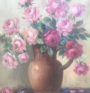 Старинный натюрморт Цветы в вазе