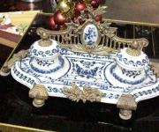 Чернильница из бронзы и фарфора